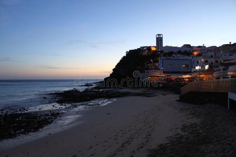 Vista di notte di Morro Jable immagine stock libera da diritti