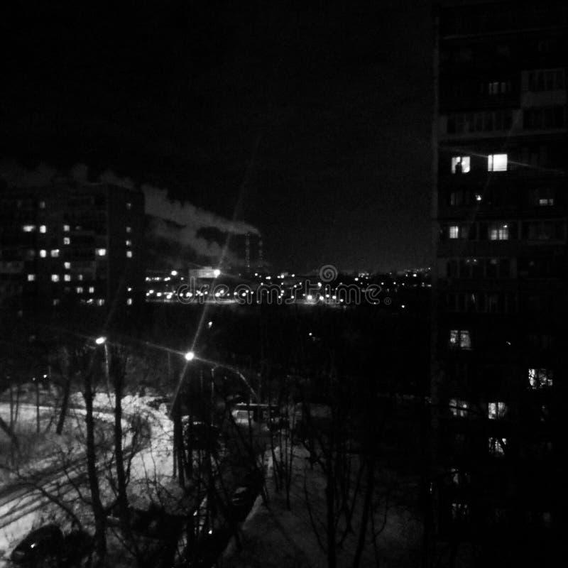 vista di notte a Mosca fotografia stock libera da diritti