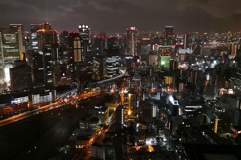 Vista di notte in Osaka City fotografia stock
