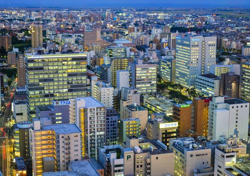 Vista di notte di Sendai, Giappone immagini stock libere da diritti