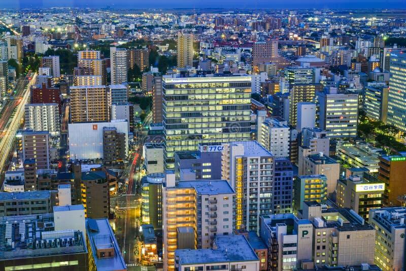 Vista di notte di Sendai, Giappone fotografia stock