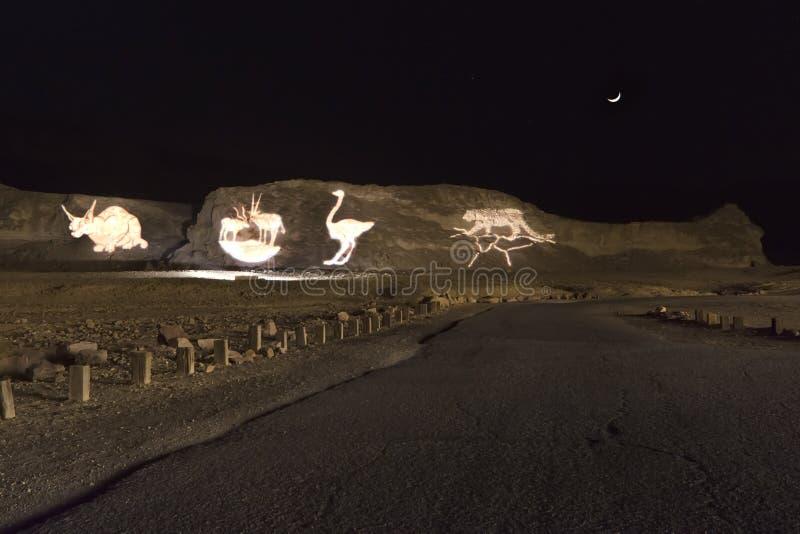 Vista di notte sul parco di Timna, Eilat, Israele fotografie stock libere da diritti