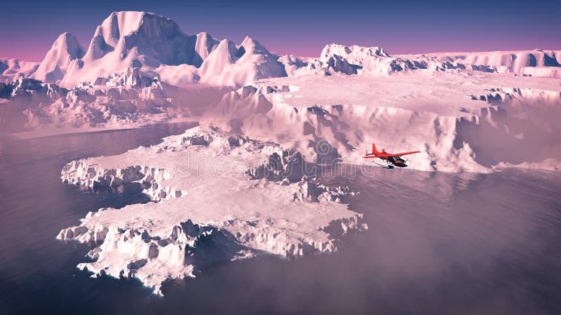 Vista di occhio dell'uccello dell'aeroplano rosso che sorvola gli iceberg con l'oceano ai sunris royalty illustrazione gratis