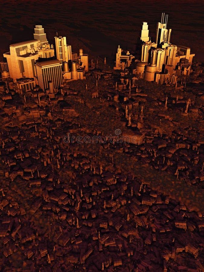 Vista di occhio dell'uccello futura della città al tramonto royalty illustrazione gratis