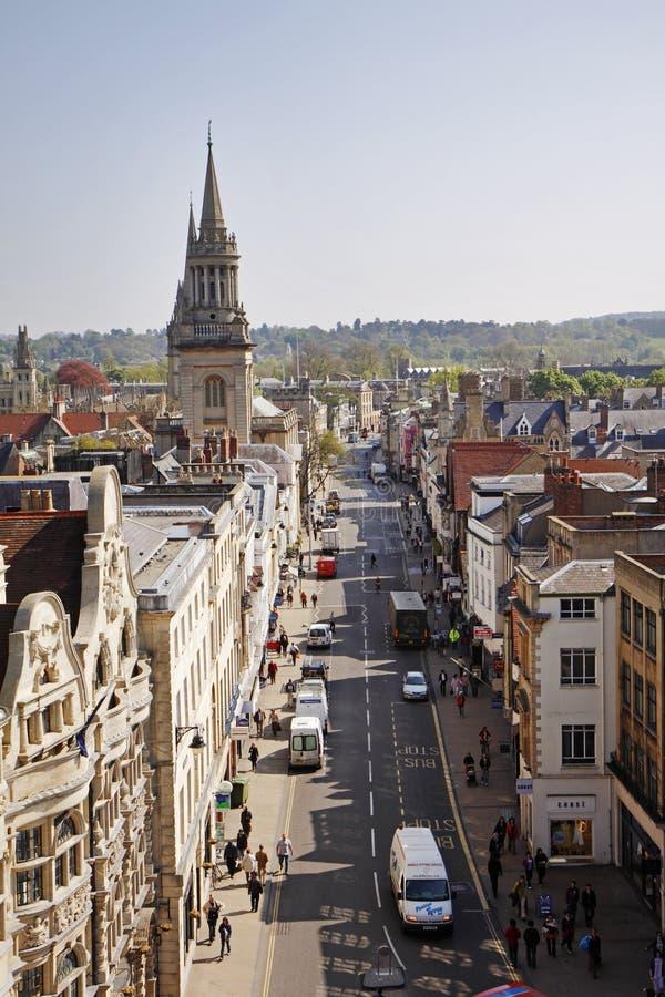 Vista di occhio di uccelli della città di Oxford in Inghilterra fotografia stock libera da diritti