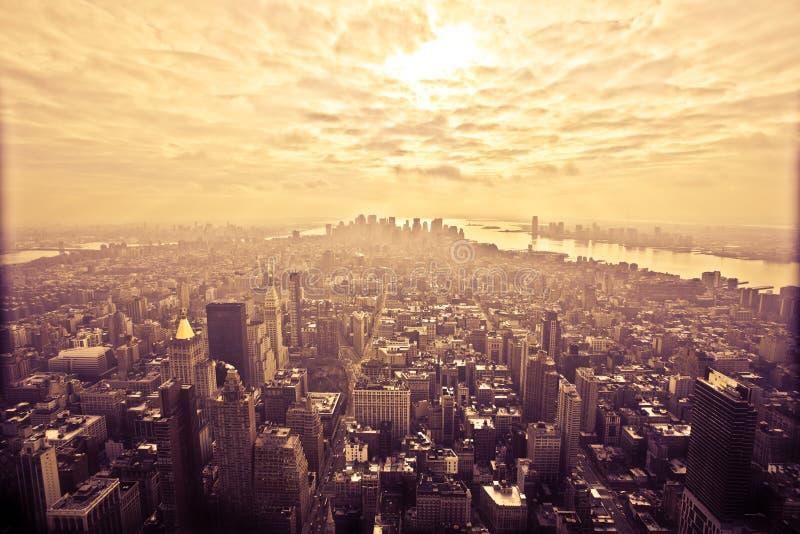 Vista di occhio di uccello di Manhattan, New York immagini stock libere da diritti