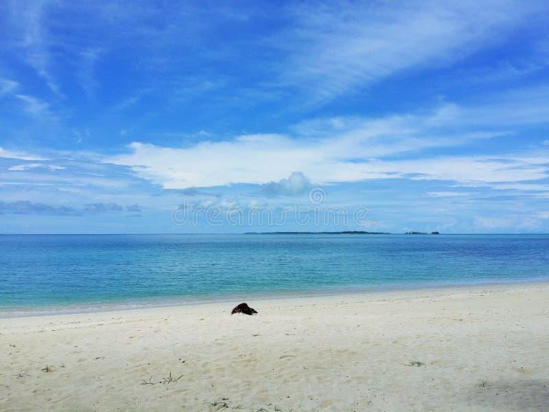 Vista di oceano di cielo blu, delle nuvole e di bella acqua di cristallo pacifica accanto ad un'isola tropicale con la sabbia bia fotografia stock