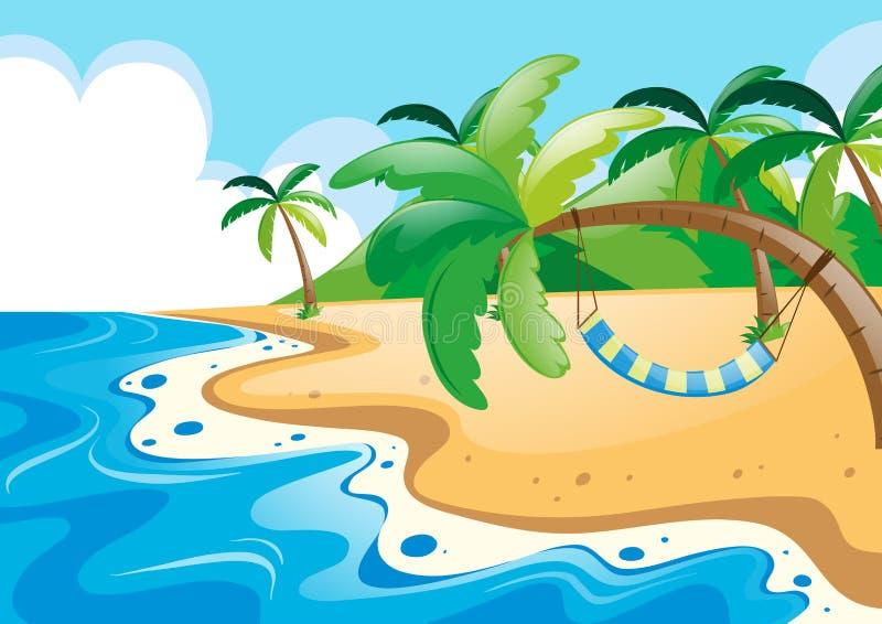 Vista di oceano con l'amaca sul cocco illustrazione di stock