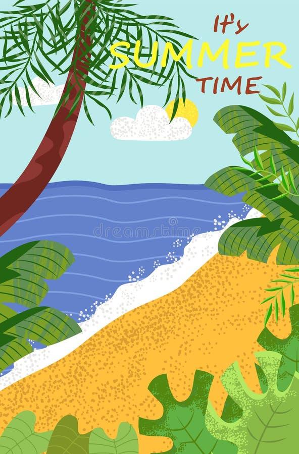 Vista di oceano e della costa, palma, vettore di estate royalty illustrazione gratis