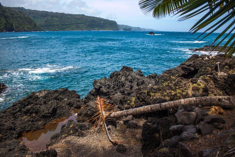 Vista di oceano nella città di Hana fotografia stock libera da diritti