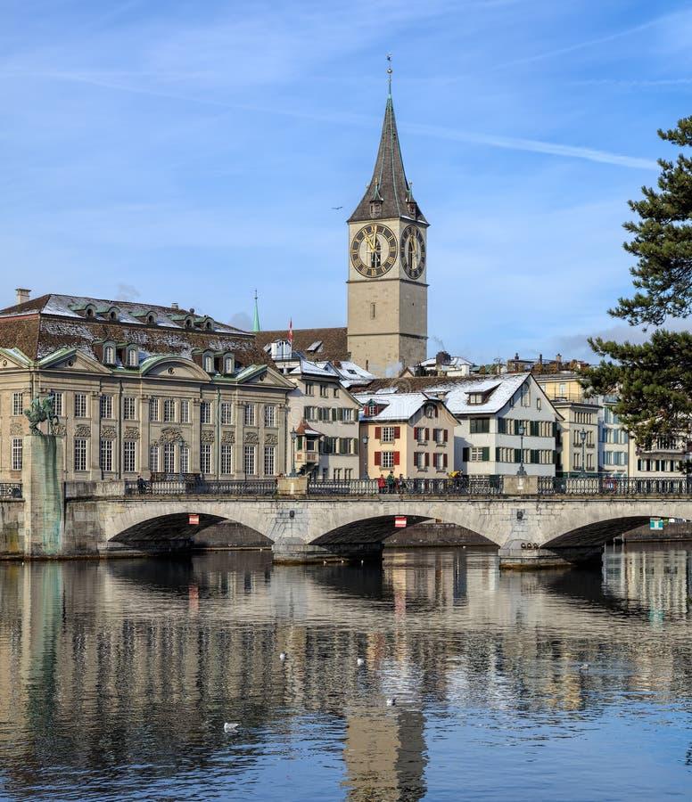 Vista di orario invernale a Zurigo, Svizzera immagine stock