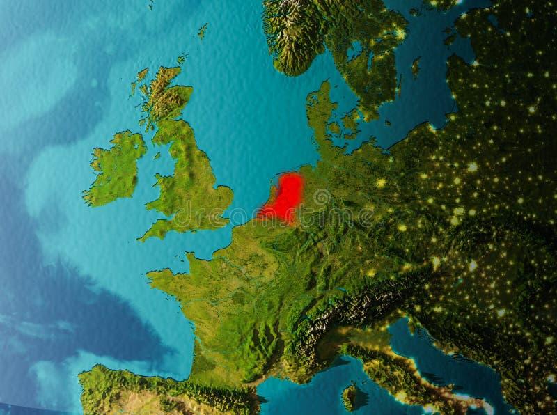 Vista di orbita dei Paesi Bassi illustrazione vettoriale