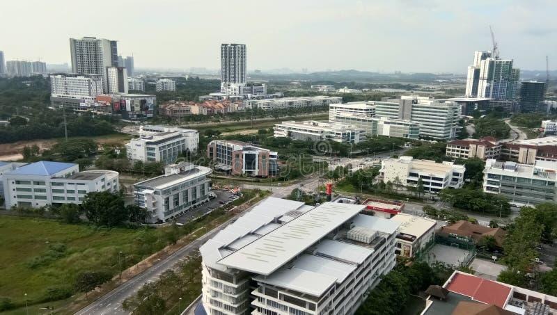 Vista di paesaggio urbano alla città di cyberjaya, fotografia stock libera da diritti
