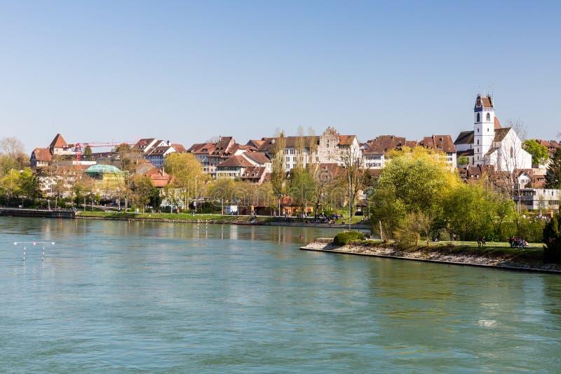 Vista di paesaggio urbano di Aarau, Svizzera immagine stock libera da diritti
