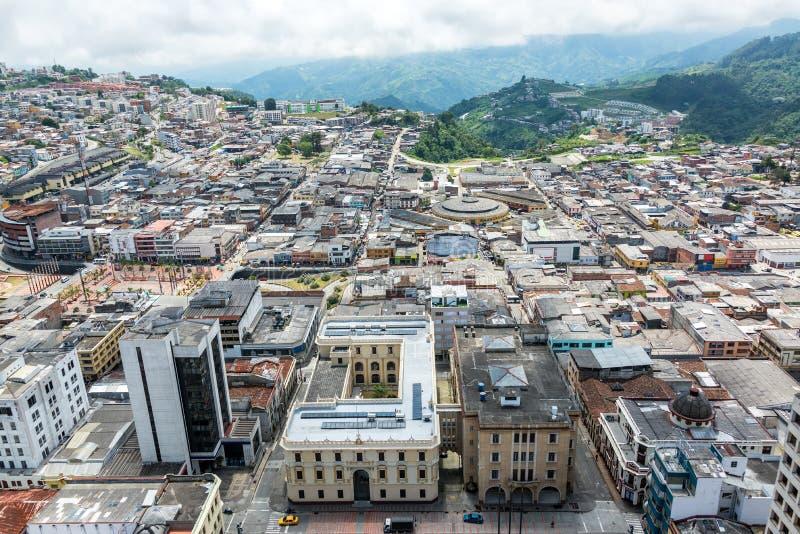 Vista di paesaggio urbano di Manizales fotografia stock