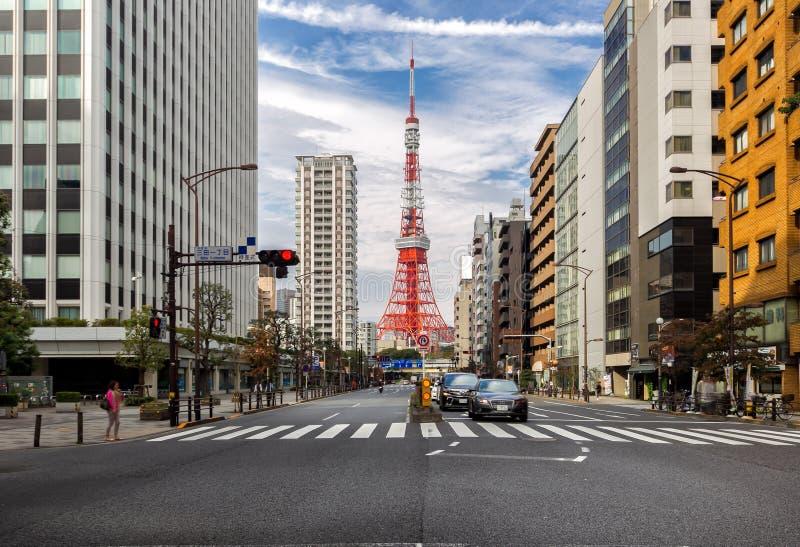 Vista di paesaggio urbano di Tokyo e della torre di Tokyo immagine stock libera da diritti