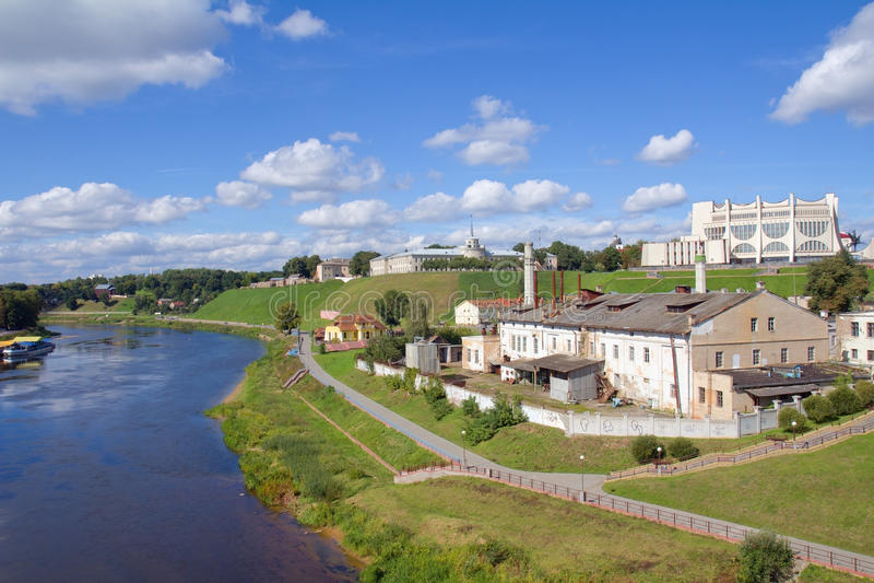 Vista di paesaggio urbano a Grodno, Bielorussia fotografia stock libera da diritti