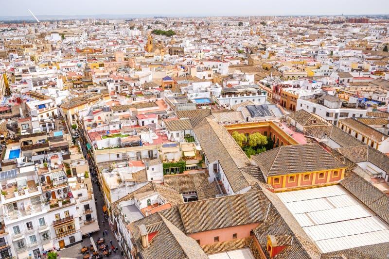 Vista di paesaggio urbano di Siviglia dalla cima del Giralda spain fotografia stock