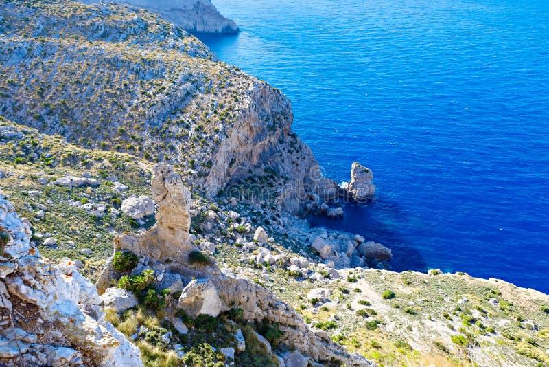 Vista di panorama del cappuccio de Formentor - costa selvaggia di Mallorca, Spagna fotografia stock libera da diritti