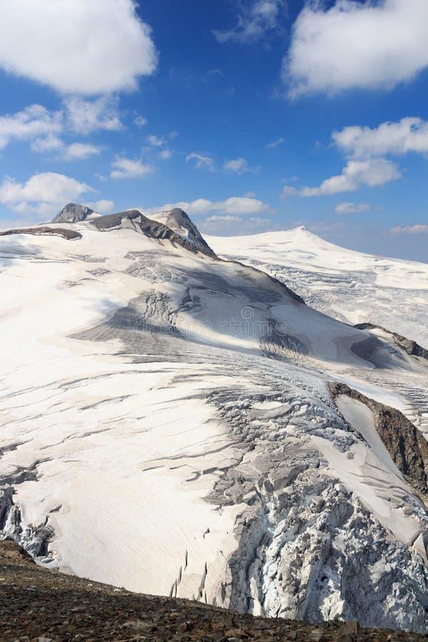 Vista di panorama del ghiacciaio della montagna con le sommità Rainerhorn, Grossvenediger, bacchetta di Schwarze e Kleinvenediger immagine stock