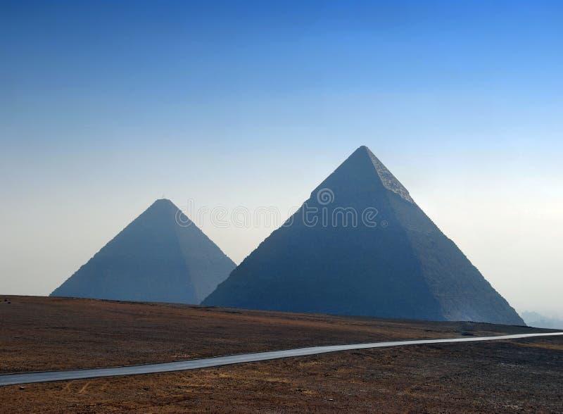Vista di panorama delle piramidi a Giza, Il Cairo, Egitto immagine stock