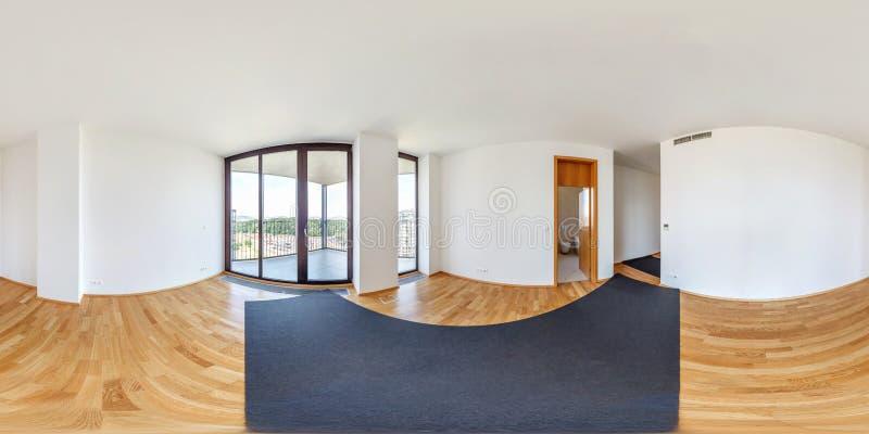 Vista di panorama 360 nell'interno vuoto bianco moderno dell'appartamento del sottotetto del corridoio del salone, hdri senza cuc immagine stock