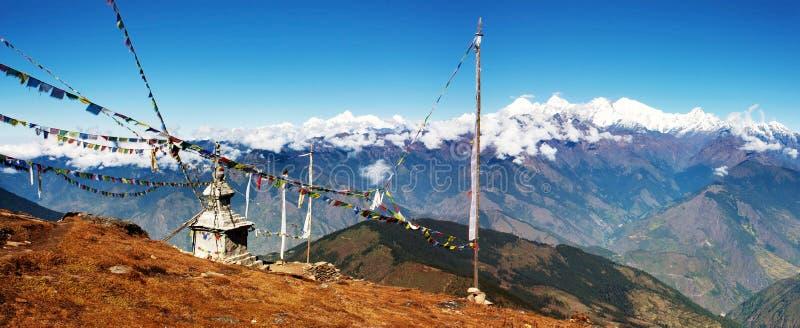Vista di Panoramatic da Langtang a Ganesh Hima fotografia stock libera da diritti