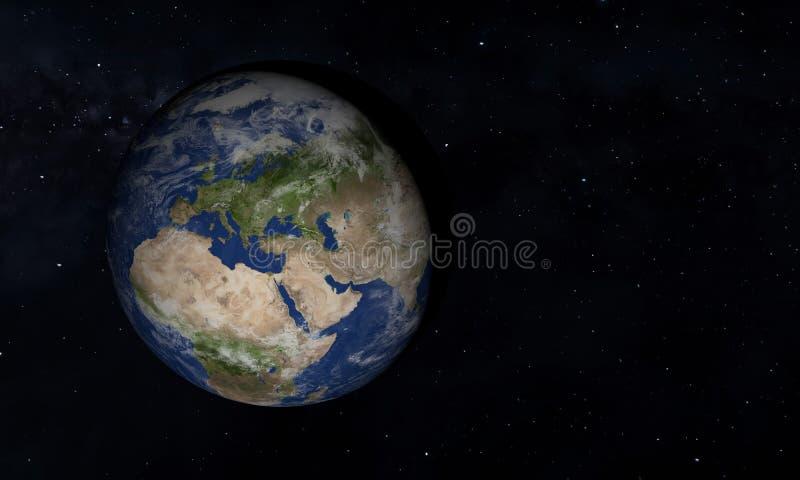 Vista di pianeta Terra blu nello spazio con la sua atmosfera 3d - illustrazione illustrazione vettoriale