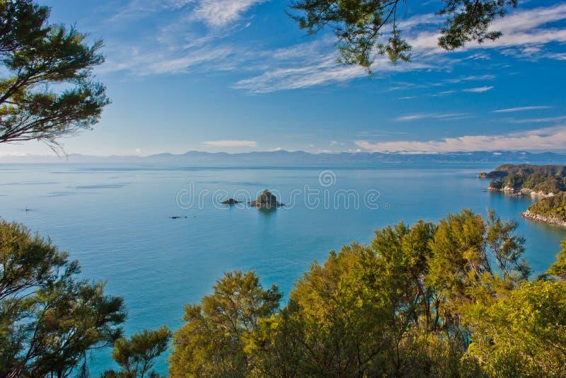 Vista di piccola isola da Abel Tasman Track in Nuova Zelanda fotografia stock