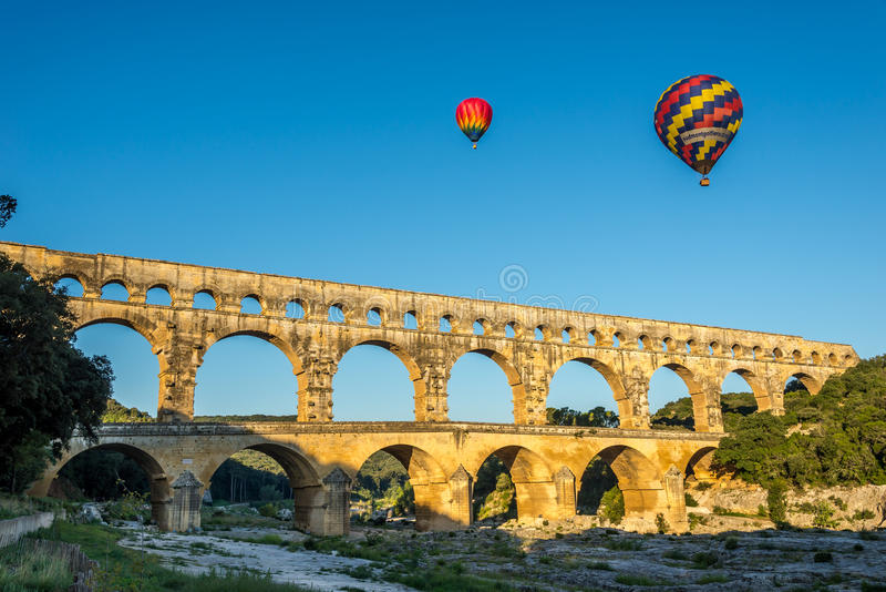 Vista di Pont Du il Gard fotografie stock libere da diritti