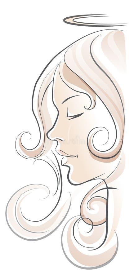 Vista di profilo della donna di angelo su fondo bianco illustrazione vettoriale