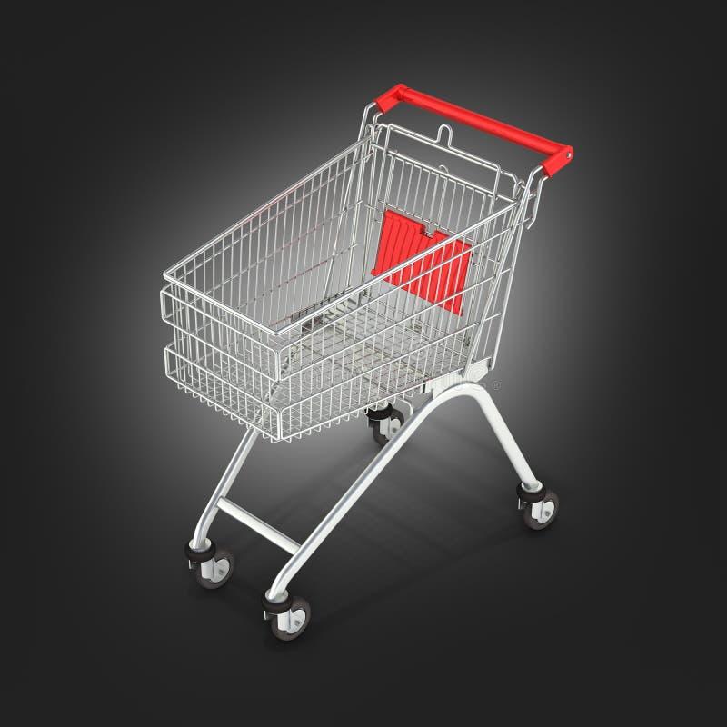 Vista di prospettiva del carrello del supermercato sul fondo nero 3d di pendenza illustrazione di stock