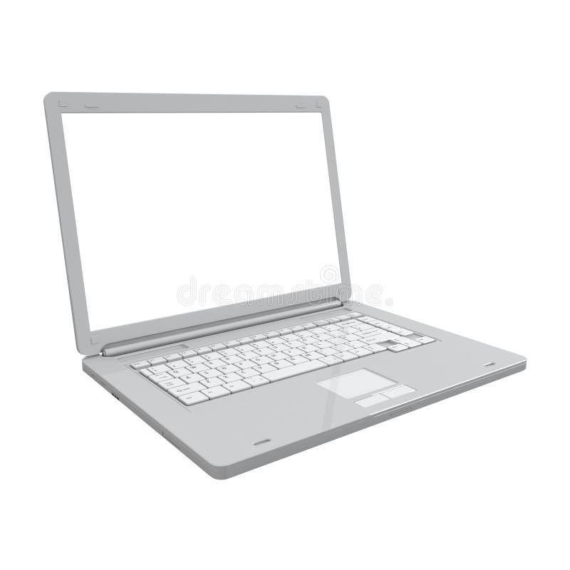 Vista di prospettiva isolata computer portatile fotografia stock libera da diritti