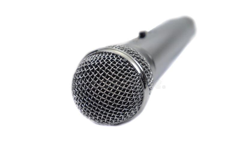 Vista di prospettiva vocale d'argento del microfono fotografie stock libere da diritti