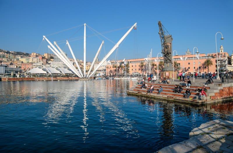 Vista di regione antica di Oporto Antico del porto di Genova, Italia immagine stock
