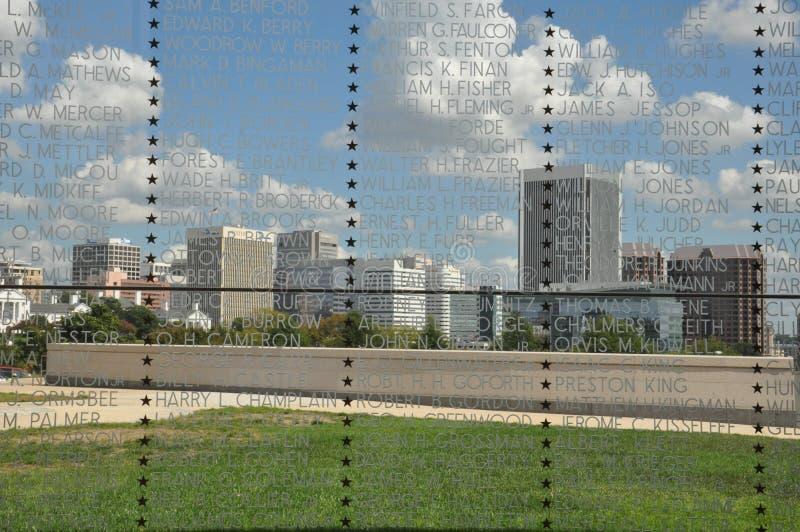 Vista di Richmond, la Virginia, da Virginia War Memorial fotografia stock libera da diritti