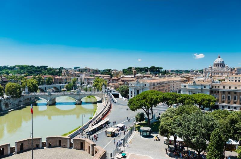 Vista di Roma da Castel Sant ' Angelo fotografia stock libera da diritti