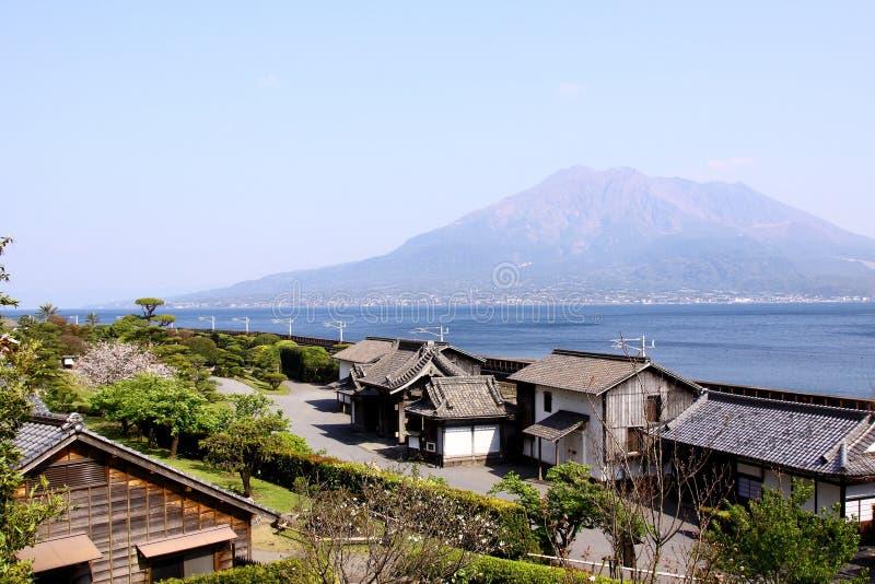 Vista di Sakurajima da Kagoshima fotografia stock libera da diritti