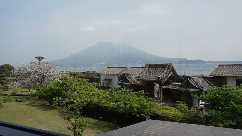 Vista di Sakurajima da Senganen fotografia stock