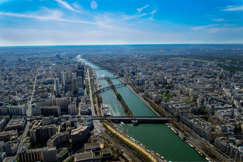 Vista di Siene del fiume dalla torre Eiffel fotografia stock libera da diritti
