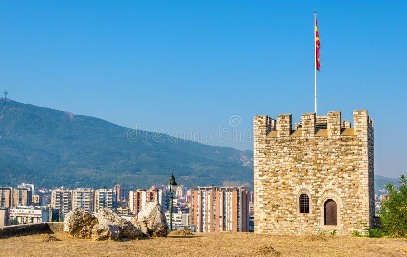 Vista di Skopje dalla fortezza fotografie stock libere da diritti