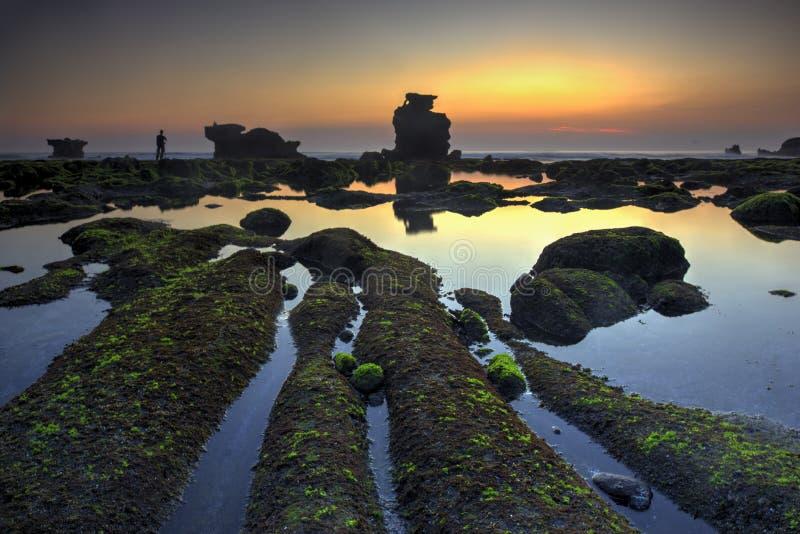 Vista di Snenic della spiaggia in Bali immagini stock libere da diritti