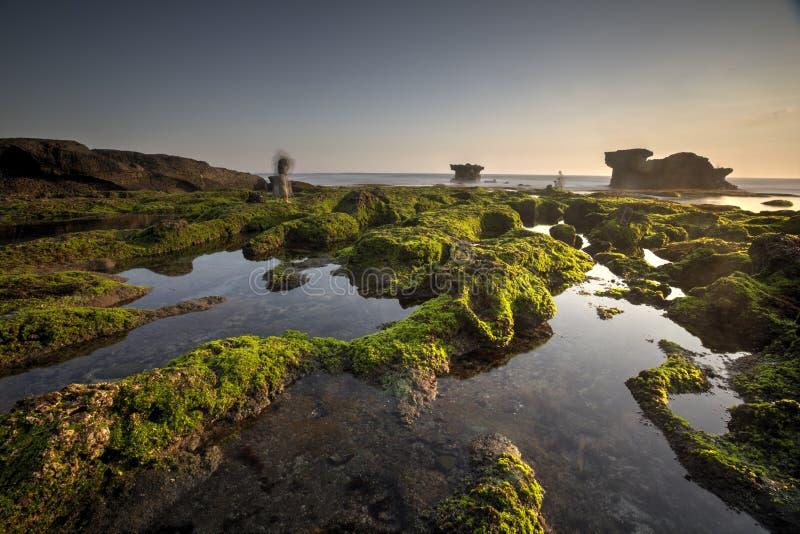 Vista di Snenic della spiaggia in Bali immagine stock