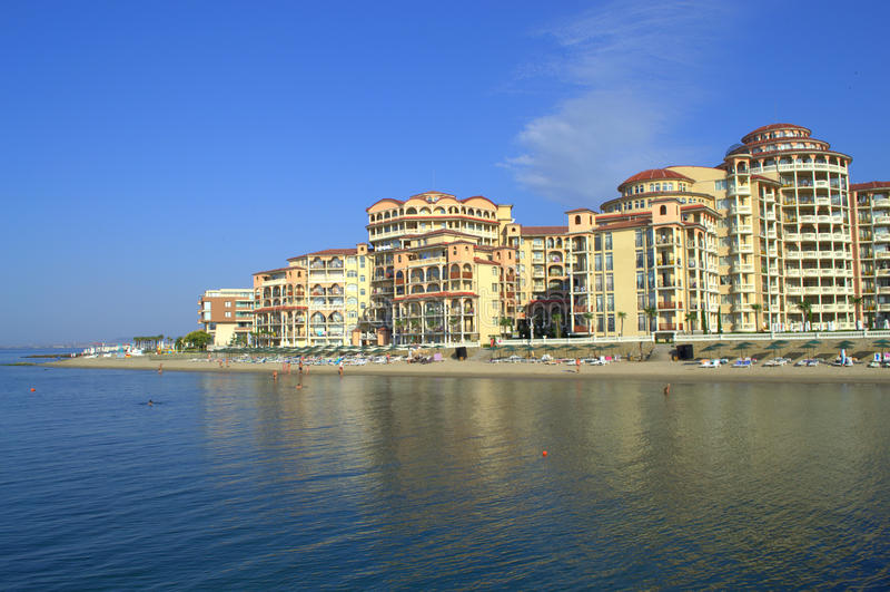 Vista di splendore della località di soggiorno di Elenite, Bulgaria fotografie stock