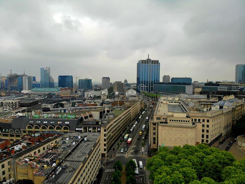 Vista di stupore da sopra La capitale del Belgio Grande Bruxelles Posto molto storico e turistico Deve vedere Vista dal fuco immagini stock