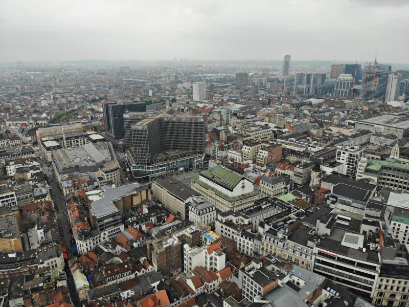 Vista di stupore da sopra La capitale del Belgio Grande Bruxelles Posto molto storico e turistico Deve vedere Vista dal fuco fotografia stock