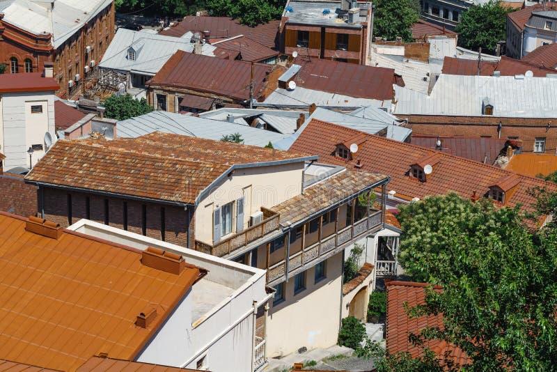 Vista di Tbilisi, capitale del paese di Georgia Vista da Narikala immagine stock