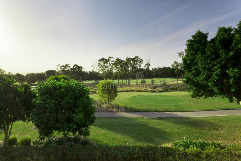 Vista di terreno da golf fotografie stock libere da diritti