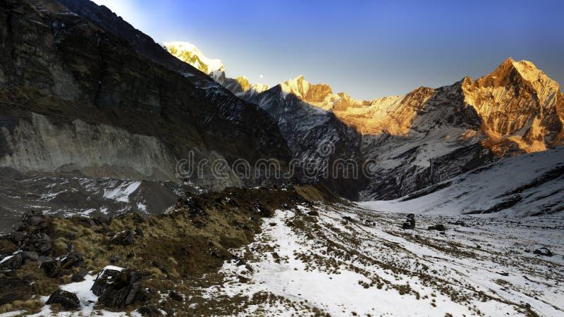 Vista di tramonto di Annapurna fotografia stock