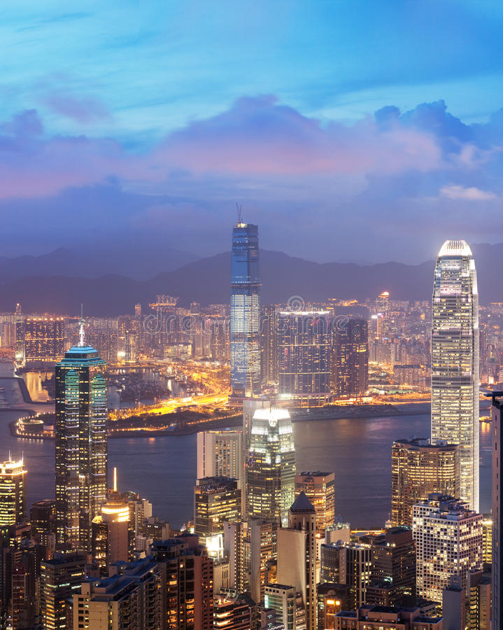 Vista di tramonto del porto della Victoria, Hong Kong, Cina immagini stock libere da diritti